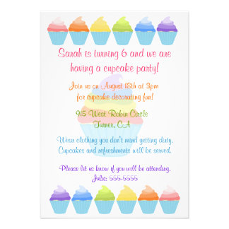 Rainbows of Cupcakes Invitation