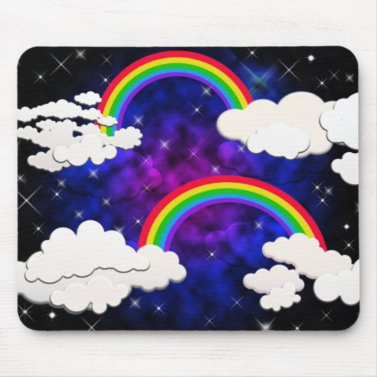Rainbows, Stars and Clouds in a Night Sky Mouse Mat