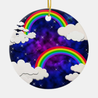Rainbows, Stars and Clouds in a Night Sky Round Ceramic Decoration