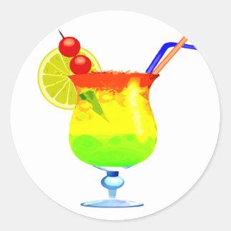 Rainbows Tropical Drink Classic Round Sticker