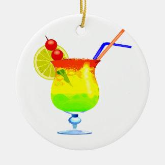 Rainbows Tropical Drink Round Ceramic Decoration