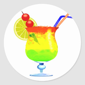 Rainbows Tropical Drink Classic Round Sticker