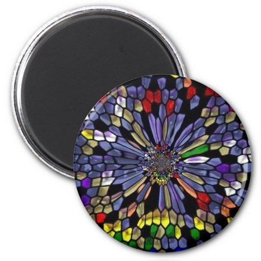 Rainbowstainedglass 6 Cm Round Magnet