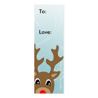 Raindeer Christmas Gift Tag Double-Sided Mini Business Cards (Pack Of 20)