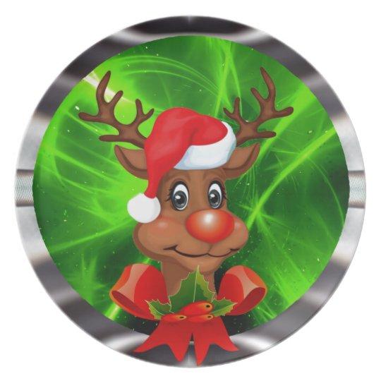 Raindeer in green space plate
