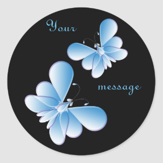 Raindrop butterflies classic round sticker