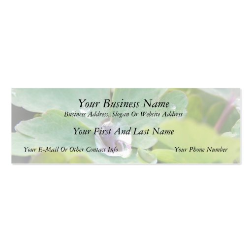 Raindrop on Columbine Leaf Business Cards