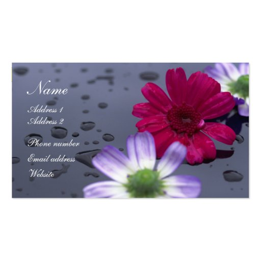 Raindrops and Flowers Profile Card Business Cards