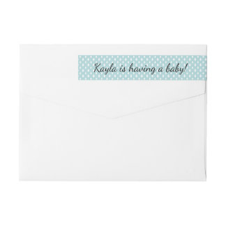 Raindrops Blue Boys Baby Shower  | Return Address Wrap Around Label