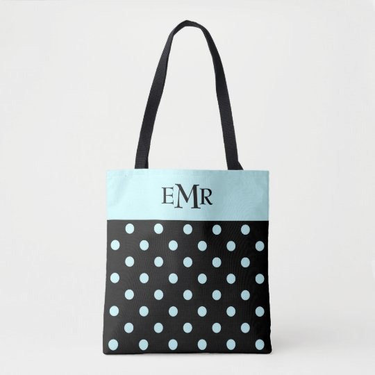 Raindrops Blue Polka Dots on Black Monogram Tote Bag