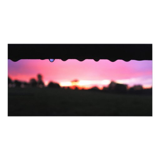 Raindrops In Sunset Photo Card