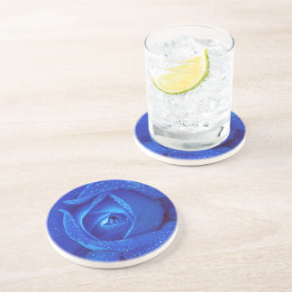 Raindrops On A Blue Rose Coasters
