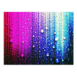 Raindrops on a  chakra color ful abstract painted postcard