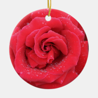 Raindrops on a Red Rose Round Ceramic Decoration