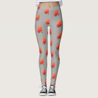 Raindrops on a Salmon Colored Rose Leggings