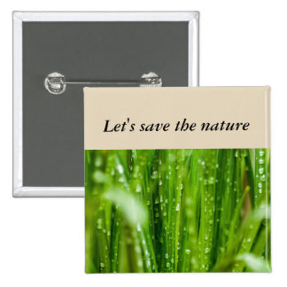 Raindrops on blades of grass 15 cm square badge