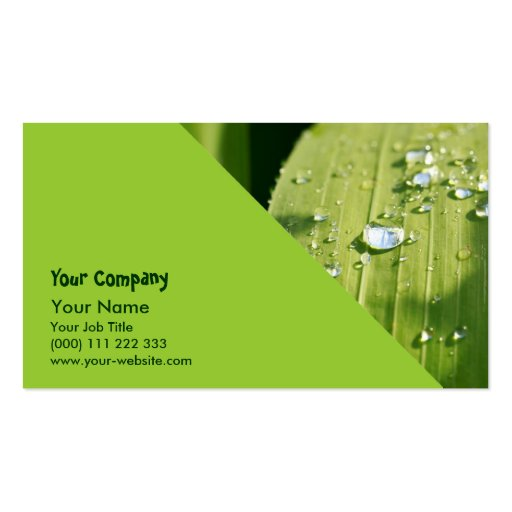 Raindrops on green leaf business card template
