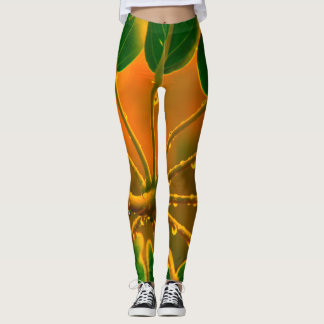 Raindrops on leaves, goldenrod background leggings