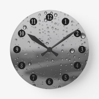 Raindrops On Silver Background Clock