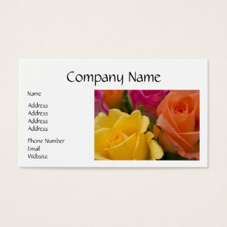 Raindrops on Yellow Orange and Pink Roses Business Card