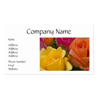 Raindrops on Yellow Orange and Pink Roses Business Card Template