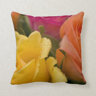 Raindrops on Yellow Orange and Pink Roses Cushions