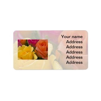 Raindrops on Yellow Orange and Pink Roses Label