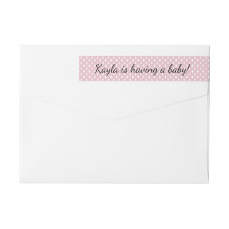 Raindrops Pink Girls Baby Shower  | Return Address Wrap Around Label