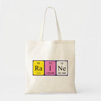 Raine periodic table name tote bag