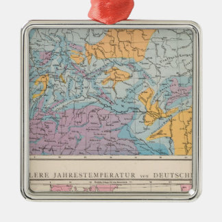 Rainfall map of Germany Silver-Colored Square Decoration