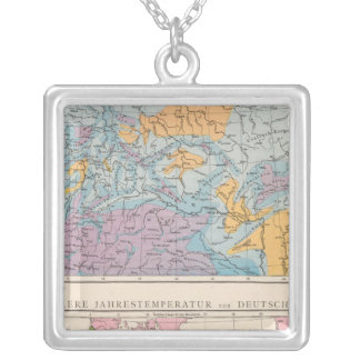 Rainfall map of Germany Silver Plated Necklace