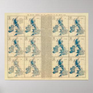 Rainfall, temperature, British Isles Poster