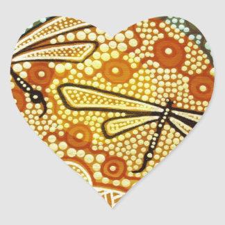 Rainforest Dragonflies Heart Sticker