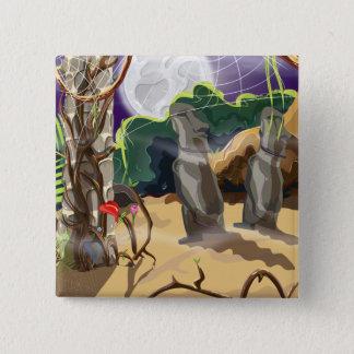 Rainforest Hidden Temple illustration. 15 Cm Square Badge