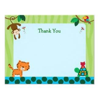 Rainforest Jungle Animal Flat Thank You Note Cards 11 Cm X 14 Cm Invitation Card
