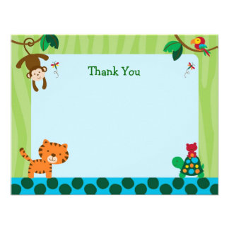 Rainforest Jungle Animal Flat Thank You Note Cards Personalized Invites