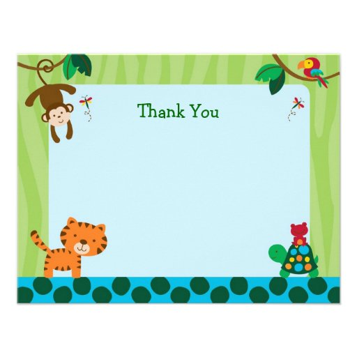 Rainforest Jungle Animal Flat Thank You Note Cards