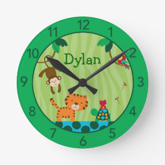 Rainforest Jungle Personalized Nursery Wall Clock