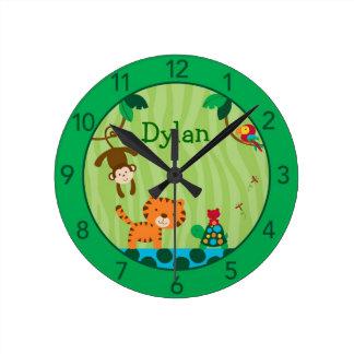 Rainforest Jungle Personalized Nursery Wall Clock
