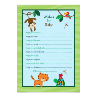 Rainforest Jungle Wishes for Baby Advice Cards 13 Cm X 18 Cm Invitation Card