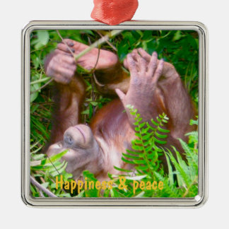 Rainforest Yoga Happy Baby Silver-Colored Square Decoration