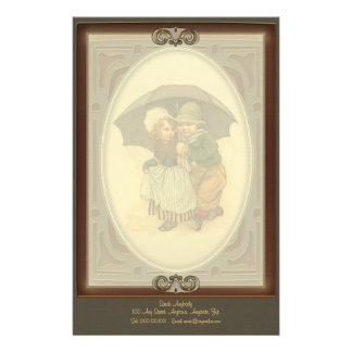 Raining Again Vintage Illustration Letterhead