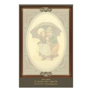 Raining Again Vintage Illustration Letterhead Customised Stationery