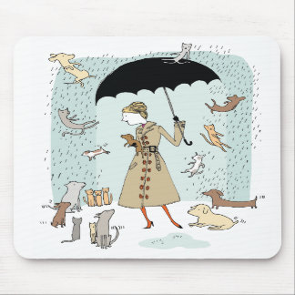 Raining Cats and Dogs by Alli Arnold Mousepad