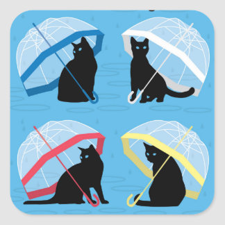 Raining Cats 'n Cats Square Glossy Sticker