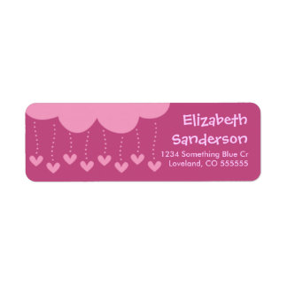 Raining Hearts Personalized Return Address Labels