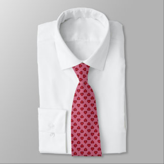 Raining Hearts: Red Hearts on Pink Tie