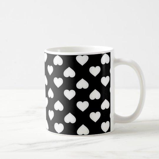 Raining Hearts: White Hearts on Black Coffee Mug