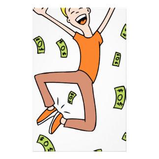 Raining Money Rich Cartoon Man Stationery