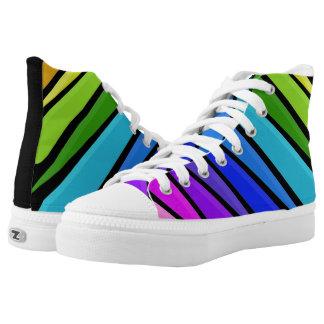 Raining Rainbows Black High Top Shoes Printed Shoes